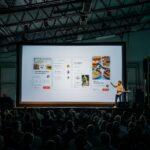 Groot beamerscherm voor presentaties