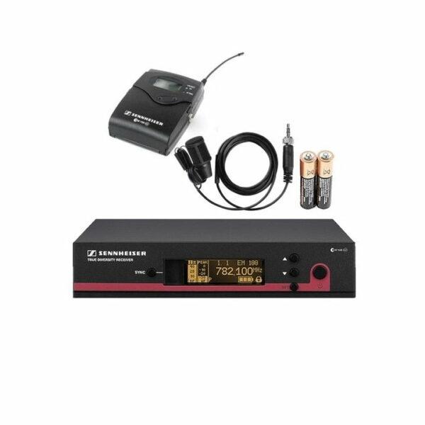 Draadloze microfoon dasspeld inclusief beltpack en ontvanger huren