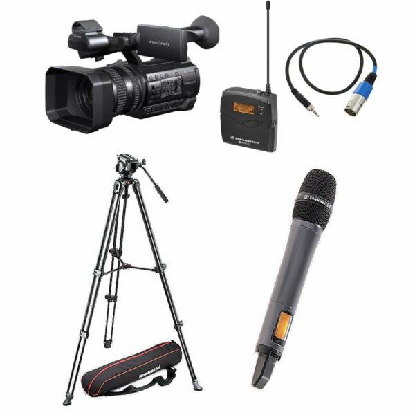 Full HD camera op statief met hand microfoon