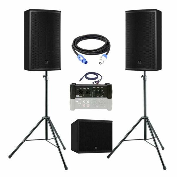 geluidsset 2 2x top 1x sub115 met kabels en mengtafel 102517