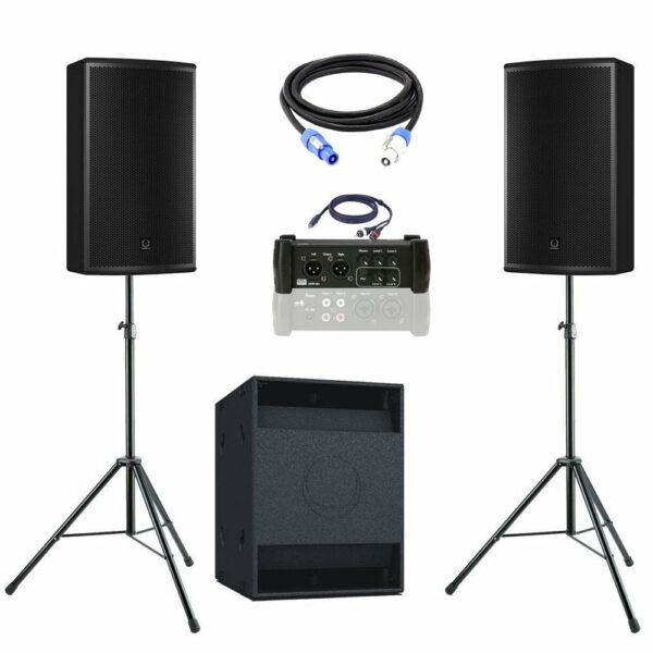 geluidsset 3 2x top 1x sub118 met kabels en mengtafel 102518