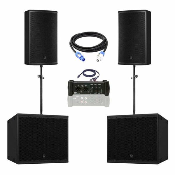geluidsset 4 2x top 2x sub115 met kabels en mengtafel 102519