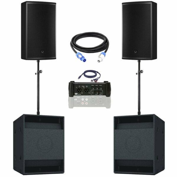 geluidsset 5 2x top 2x sub118 met kabels en mengtafel 102520