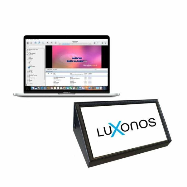 Karaoke software op laptop met afkijkscherm