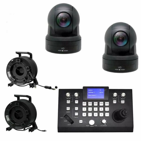 Set 2x PTZ camera dome HD-NDI met controller