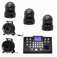 Set: 3x PTZ camera dome HD-NDI met controller huren