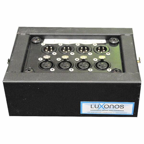 Mini Stagebox 4-in / 4-out doorlus Ethernet (Cat) zijkant