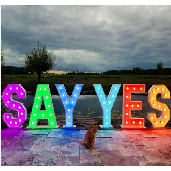 Verlichte woorden: say yes