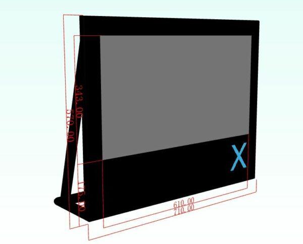 X-screen (opblaasbaar projectiescherm) 6,10x3,43m afmetingen